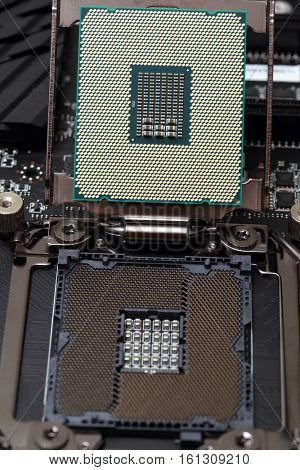 Modern central processor unit on motherboard