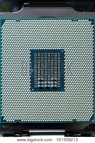 modern cpu computer chip in socket macro