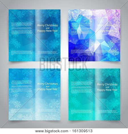 Brochure design templates set with abstract triangular background with snowflakes. Blue colors. Merry Christmas and Happy New Year vector brochure mockup EPS10