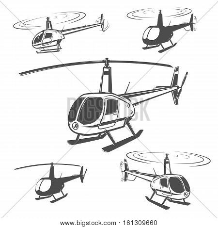 Set of helicopter logo and emblems,tattoo and print.