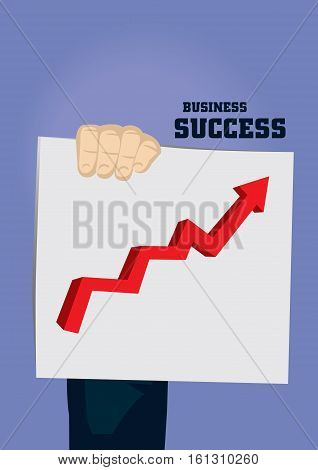 Cartoon hand holding up a growth chart and text business and success. Vector illustration on successful business growth concept isolated on blue background.