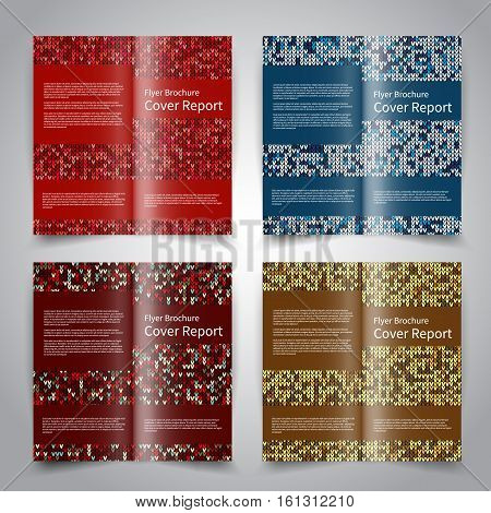 Brochure design templates set with knitted ornament background. Red, blue, gold colors. Vector Christmas brochure mockup EPS10