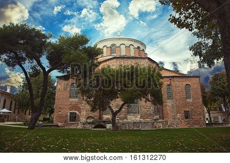 ISTANBUL, TURKEY - OCTOBER 9, 2014: The church of Saint Irene the grounds of the Topkapi Palace in Istanbul