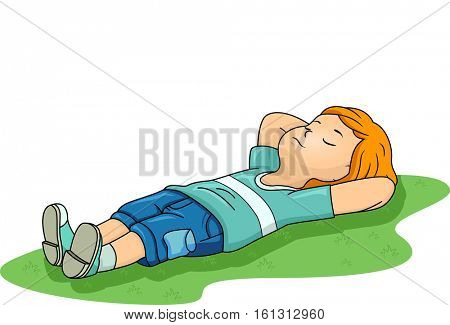 Illustration of a Little Boy Sleeping Peacefully on a Patch of Grass at a Public Park