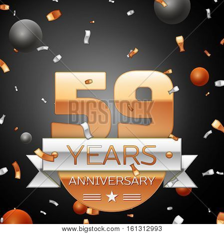 Fifty nine years anniversary celebration background with silver ribbon confetti and circles. Anniversary ribbon. Vector illustration.