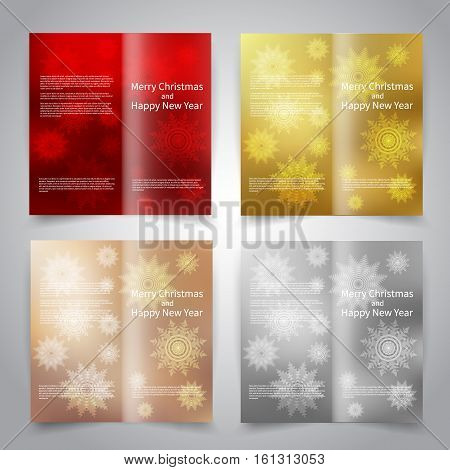 Brochure design templates set with abstract background with snowflakes. Red, gold, bronze, silver colors. Merry Christmas and Happy New Year vector brochure mockup EPS10