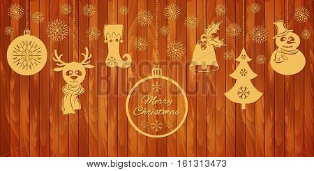 Gold Christmas pendants: a bell with holly, ball, fir-tree with snowflakes, a deer in scarf, a snowman, stocking. A border isolated on wooden planks background. Vector illustration. Usable for design greeting card, banner, invitation.