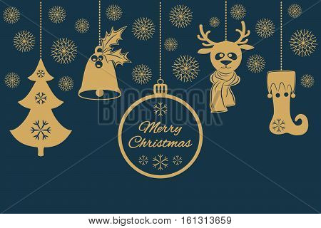 Gold Christmas pendants such as a bell with holly, ball, fir-tree with snowflakes, a deer in scarf, stocking. Universal border, isolated on dark background. Vector illustration. Usable for design greeting card, banner, invitation, logo and sticker, stamp.
