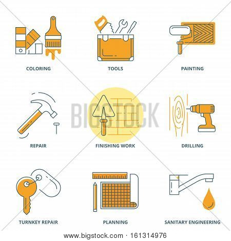 House repair and construction vector icons set