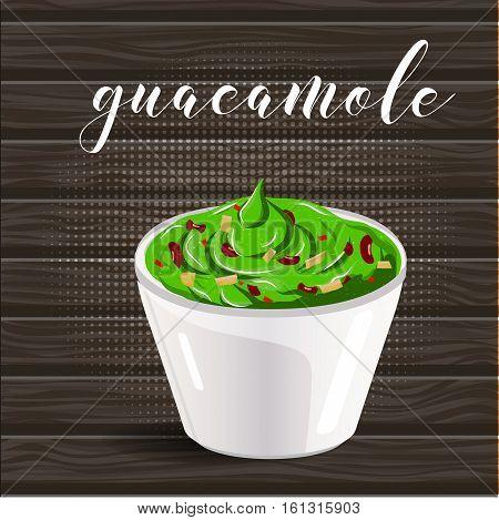 Vector abstract logo ceramic dip bowl, filled guacamole. EPS