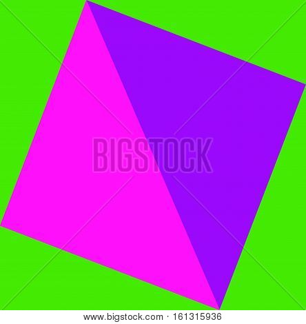 Abstract geometric composition in lilac and pink on green background