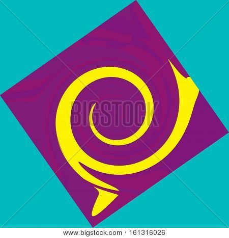 Abstract geometric composition in lilac and yellow on turquoise background