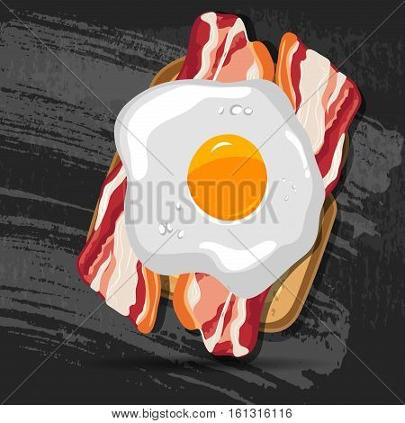 Vector breakfast bread toast with fried egg and bacon. Good morning vector concept. EPS