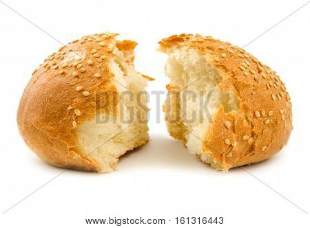 Two halves of wheat bread isolated on a white background