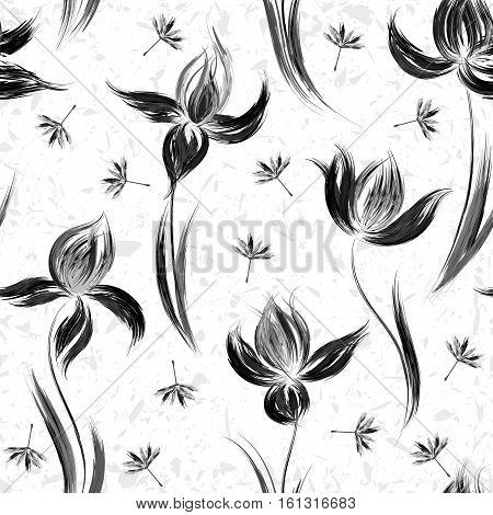 Floral seamless pattern of irises. Irises painted imitation of oil paint. Creative execution of floral ornament. Black and gray flowers on a white background.