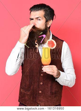 Satisfied Handsome Bearded Man
