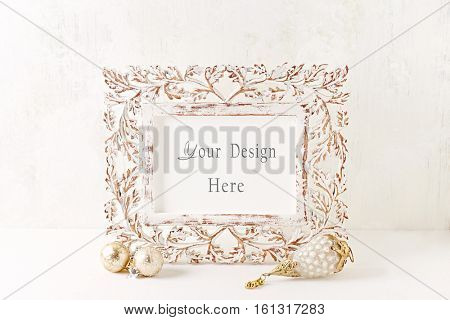 Vintage wooden picture frame and Christmas decorations