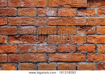 Texture of red brick very ancient wall