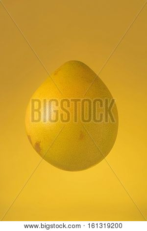 Fresh ripe pomelo citrus isolated on yellow background