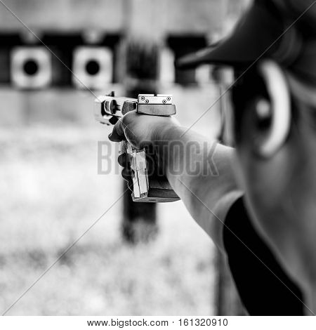 shooting target on training, black and white image
