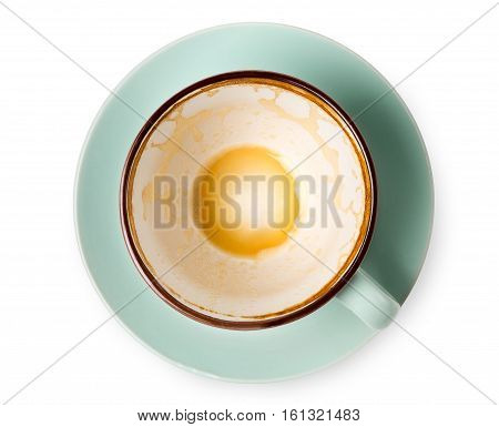 Empty coffee cup top view closeup isolated on white background.