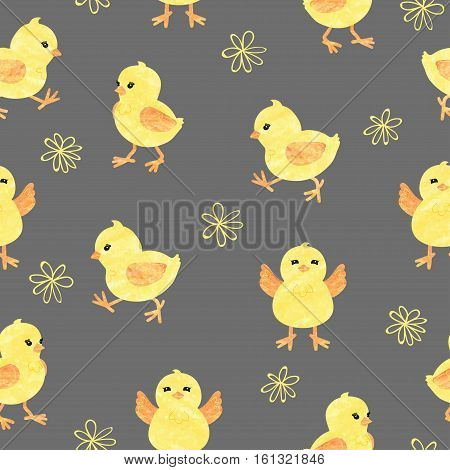 Seamless baby pattern with cute little chickens. Funny yellow chicks in different poses. Vector illustration.