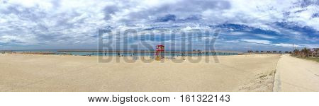 Panorama view Okinawa beach lifeguard station white cloud and sea