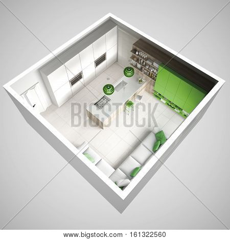 Minimalistic White Kitchen, With Wooden And Green Details, Minimal Interior Design, Cross Section, T