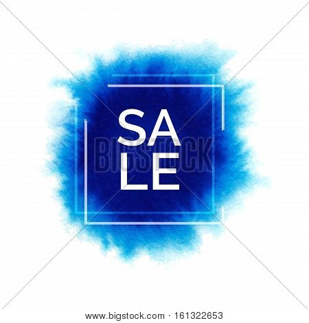 Hand painted watercolor splash with world sale, abstract watercolour blue stain, bright vector watercolor background for design