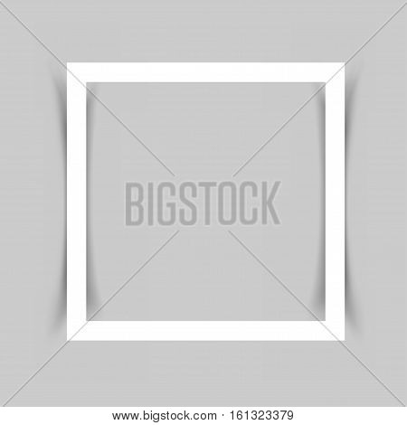 Piece of white paper frame for note, message, quote with the shadow on gray background.