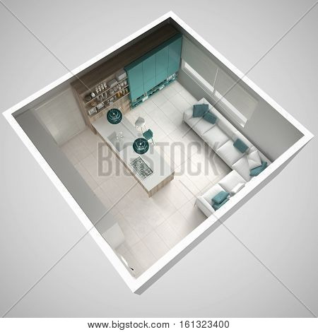 Minimalistic White Kitchen, With Wooden And Turquoise Details, Minimal Interior Design, Cross Sectio