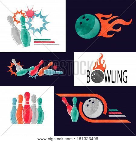 Set of colorful bowling logo icons and symbols. Bowling ball and pins vector illustration. Design elements.