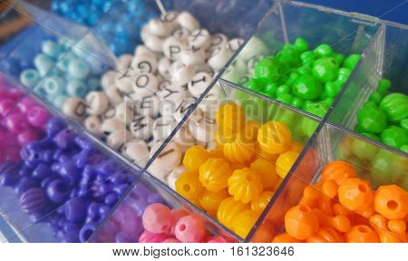 Colorful assortment of craft beads