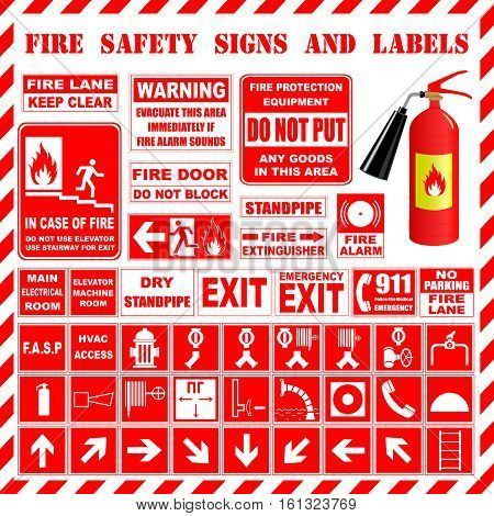 Information boards and fire safety signs on the background of a fire extinguisher.  Vector illustration.