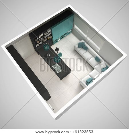 Minimalistic Gray Kitchen, With Wooden And Turquoise Details, Minimal Interior Design, Cross Section
