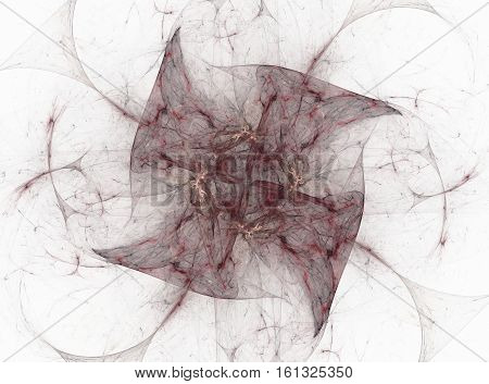 3D Rendering With Maroon Contrasting Floral Abstract Fractal