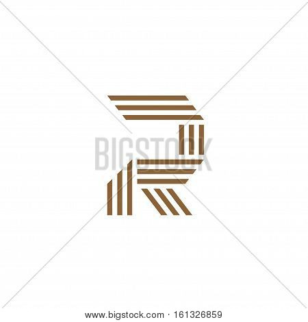 Capital letter R Made of of three stripes . creative letter R stripes Logo, monogram, emblem trendy design.