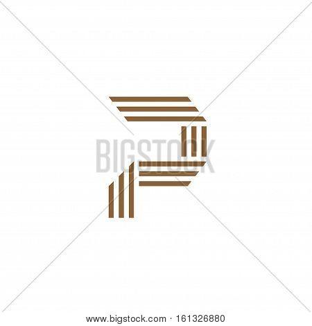 Capital letter P. Made of of three stripes . creative letter P stripes Logo, monogram, emblem trendy design.