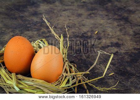 Brown eggs in nest hen eggs on wooden background