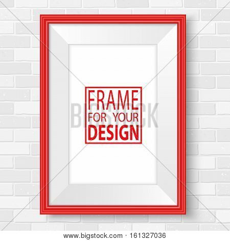 Picture Frames White Brick Wall Mock Up Vector Red