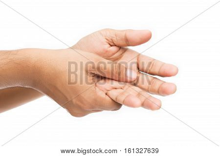 Man holding her hand pain concept isolate on white background