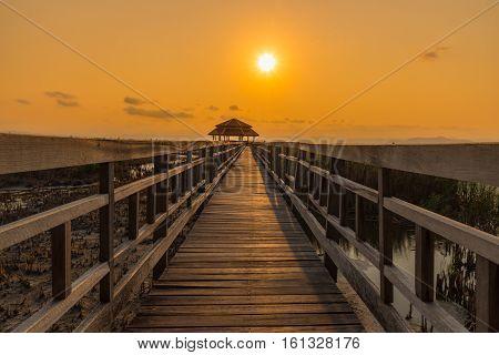 Wooden bridge with sunny at Sam Roi Yot National ParkThailand