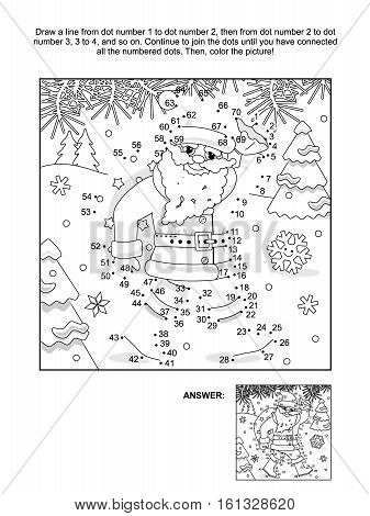 New Year or Christmas themed connect the dots picture puzzle and coloring page with Santa delivering sack full of gifts and presents. Answer included.