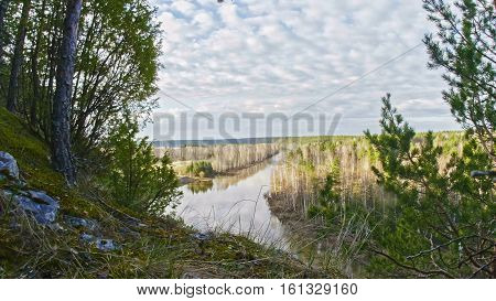 Panaramic veiw of mountain river landscape of Chusovaya river in siberia, Ural, Russia, wide angle