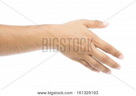 Empty man hand on white background Check Hand