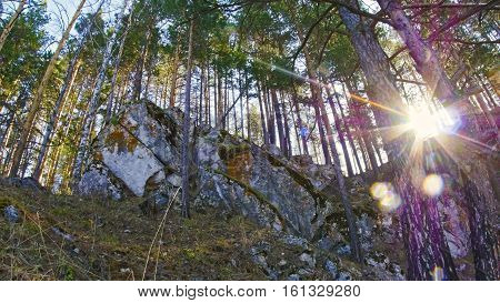 Mountans and rocks in siberian forest, Ural, summer day