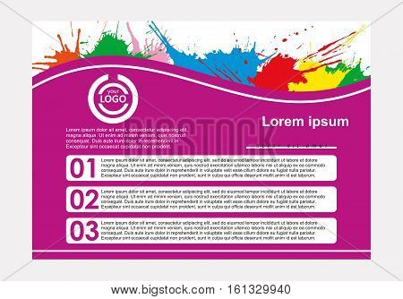 Abstract vector template design, horizontal flayers, brochure, web sites, page, leaflet, with colorful watercolor paint splash