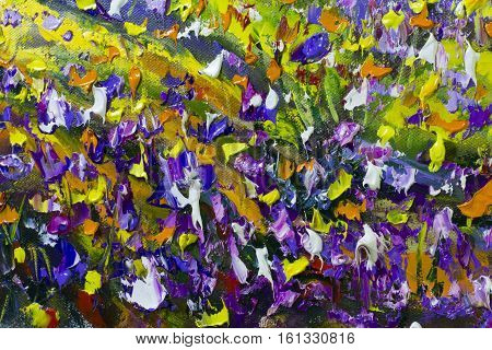 Big texture background  flowers. Close up fragment of oil painting artistic flowers image. Palette knife flowers macro. Macro artist's impasto flowers texture mixed oil paints flowers.