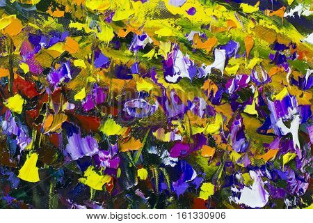 Big texture background of flowers. Close up fragment of oil painting artistic flowers image. Palette knife flowers macro. Macro artist's impasto flowers texture mixed oil paints flowers.
