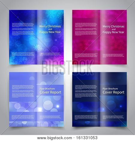 Brochure design templates set with abstract background with snowflakes. Blue purple color. Merry Christmas and Happy New Year vector brochure mockup EPS10